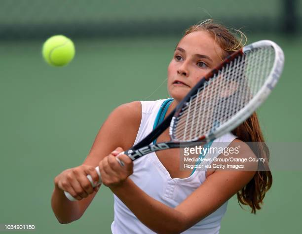 Wilson's Olivia Mendoza returns a backhand shot at the Billie Jean King Tennis Center in Long Beach CA on Friday October 31 2014 Wilson's Olivia...
