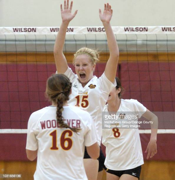 BEACH CA Wilson's Rebecca Strehlow celebrates a point with teammate Kellie Woolever against Lakewood in Long Beach CA on Thursday October 15 2009...