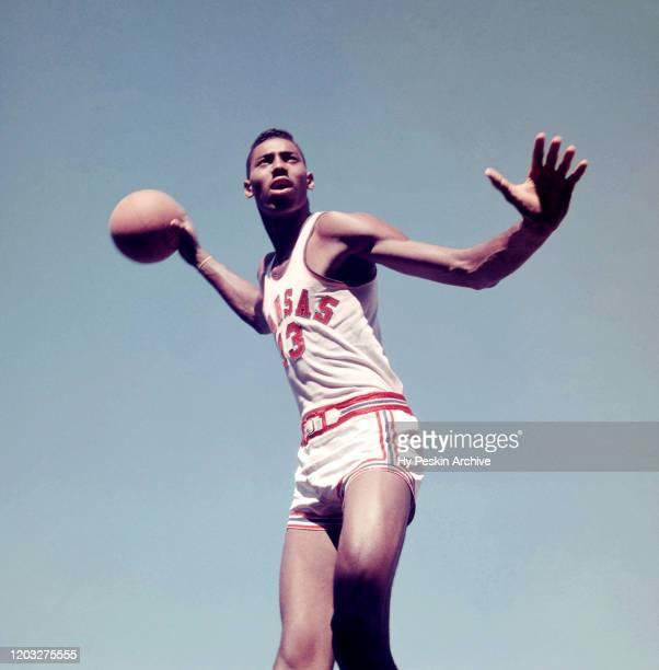 Wilt Chamberlain of the University of Kansas Jayhawks poses for a portrait circa 1957 in Lawrence, Kansas.