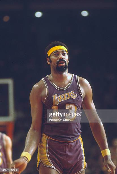 Wilt Chamberlain of the Los Angeles Lakers looks on against the Baltimore Bullets during an NBA basketball game circa 1971 at the Baltimore Civic...