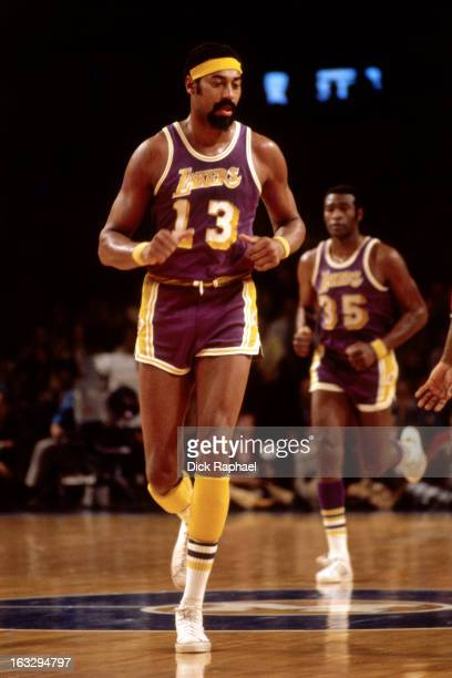 Wilt Chamberlain of the Los Angeles Lakers runs against the Boston Celtics circa 1973 at the Boston Garden in Boston Massachusetts NOTE TO USER User...