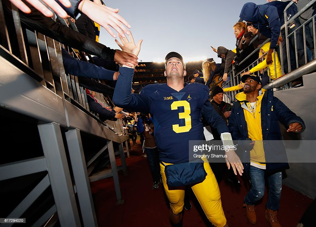 Wilton Speight #3 of the Michigan Wolverines leaves the field after a 41-8 win over the Illinois Fighting Illini on October 22, 2016 at Michigan Stadium in Ann Arbor, Michigan.