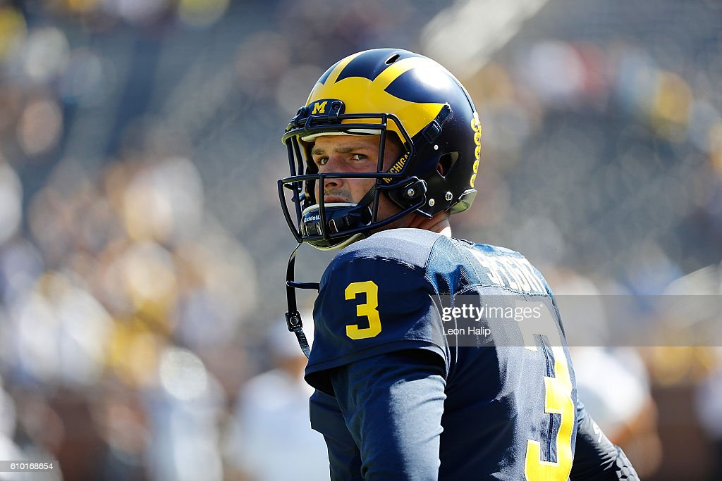 Wilton Speight #3 of the Michigan Wolverines warms up prior to the start of the game against the Penn State Nittany Lions at Michigan Stadium on September 24, 2016 in Ann Arbor, Michigan.