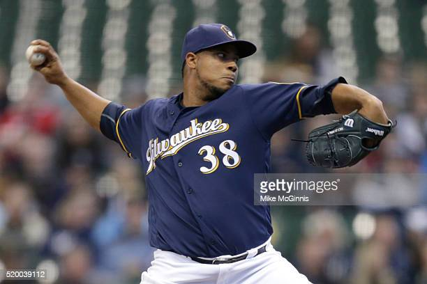 Wily Peralta of the Houston Astros pitches during the first inning against the Milwaukee Brewers at Miller Park on April 09 2016 in Milwaukee...