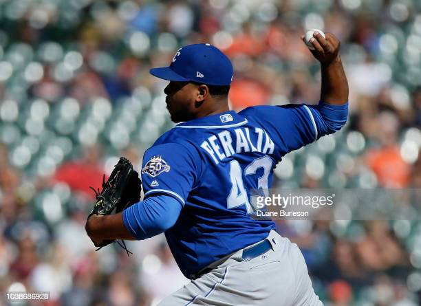 Wily Peralta of the Kansas City Royals pitches against the Detroit Tigers during the ninth inning at Comerica Park on September 23 2018 in Detroit...