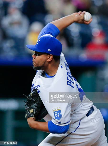 Wily Peralta of the Kansas City Royals pitches in the ninth inning during the game against the Los Angeles Angels of Anaheim at Kauffman Stadium on...