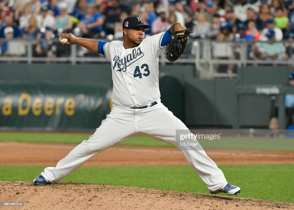 Wily Peralta #43 of the Kansas City Royals pitches in the ninth inning against the Cleveland Indians at Kauffman Stadium on July 4, 2018 in Kansas City, Missouri.