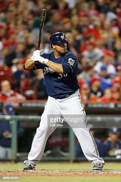 Wily Peralta of the Milwaukee Brewers bats against the Cincinnati Reds at Great American Ball Park on May 2 2014 in Cincinnati Ohio Milwaukee...