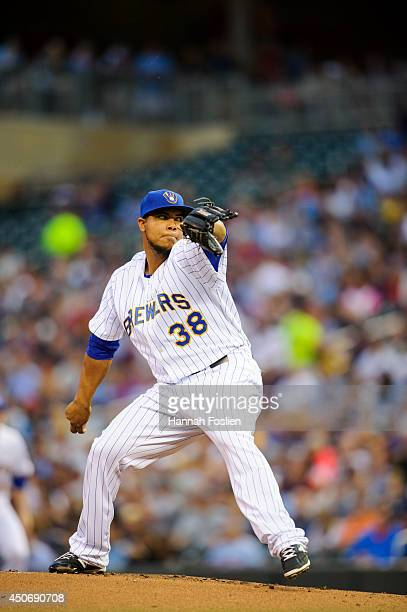 Wily Peralta of the Milwaukee Brewers delivers a pitch against the Minnesota Twins during the game at Target Field on June 5 2014 in Minneapolis...