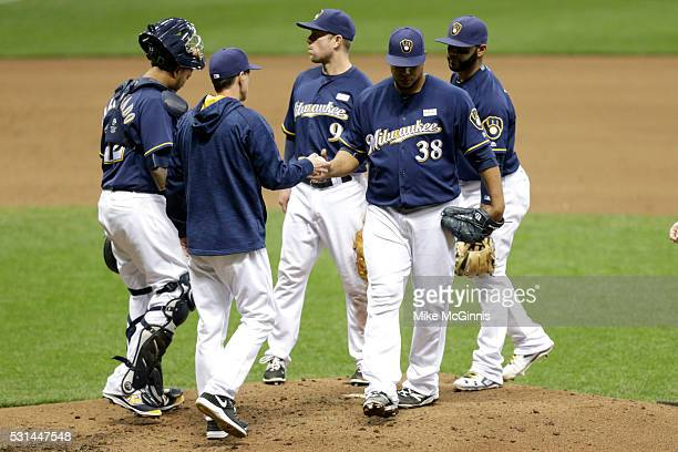 Wily Peralta of the Milwaukee Brewers leaves the game in the fifth inning against the San Diego Padres at Miller Park on May 14 2016 in Milwaukee...
