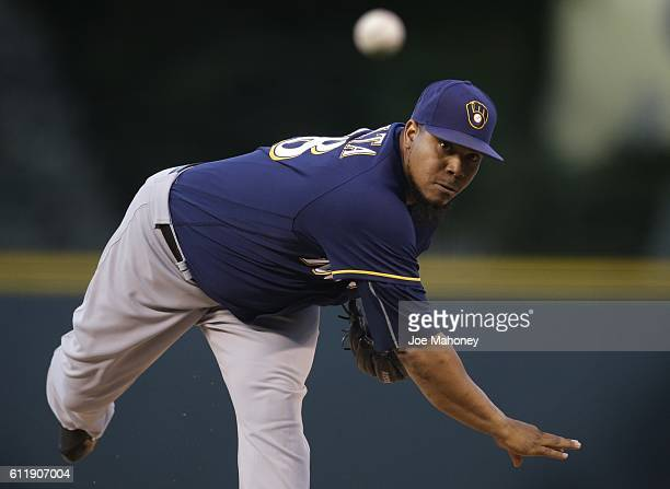 Wily Peralta of the Milwaukee Brewers pitches against the Colorado Rockies in the first inning at Coors Field on October 1 2016 in Denver Colorado