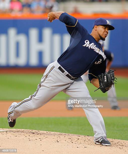 Wily Peralta of the Milwaukee Brewers pitches against the New York Mets during the game at Citi Field on June 11 2014 in the Flushing neighborhood of...