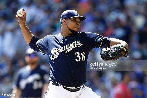 Wily Peralta of the Milwaukee Brewers pitches during the first inning against the Miami Marlins at Miller Park on August 19 2015 in Milwaukee...