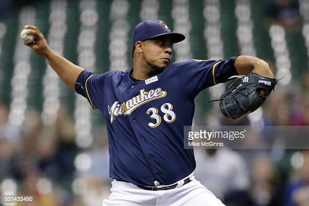 Wily Peralta of the Milwaukee Brewers pitches during the first inning against the San Diego Padres at Miller Park on May 14 2016 in Milwaukee...