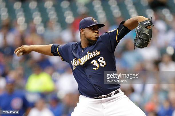 Wily Peralta of the Milwaukee Brewers pitches during the first inning against the Chicago Cubs at Miller Park on September 06 2016 in Milwaukee...