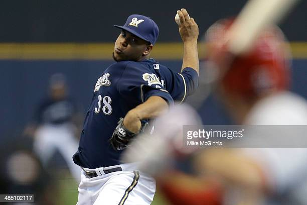 Wily Peralta of the Milwaukee Brewers pitches during the fourth inning against the St Louis Cardinals at Miller Park on April 16 2014 in Milwaukee...