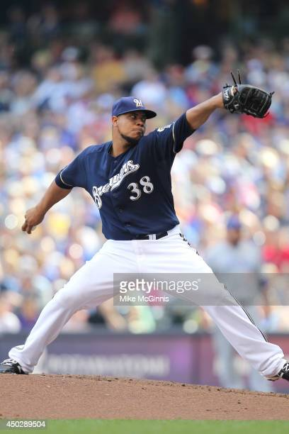 Wily Peralta of the Milwaukee Brewers pitches during the game against the Chicago Cubs at Miller Park on May 31 2014 in Milwaukee Wisconsin