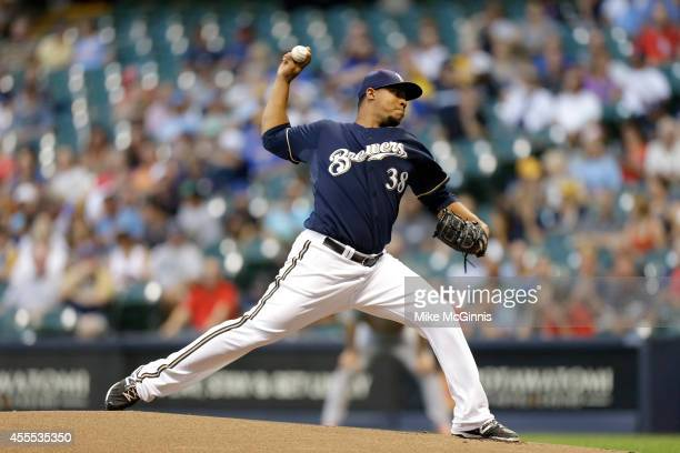 Wily Peralta of the Milwaukee Brewers pitches during the game against the St Louis Cardinals at Miller Park on September 4 2014 in Milwaukee Wisconsin