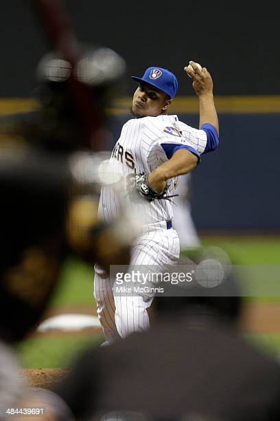 Wily Peralta of the Milwaukee Brewers pitches during the game against the Pittsburgh Pirates at Miller Park on April 11 2014 in Milwaukee Wisconsin