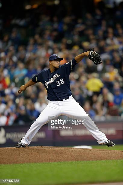 Wily Peralta of the Milwaukee Brewers pitches during the game against the Chicago Cubs at Miller Park on April 27 2014 in Milwaukee Wisconsin