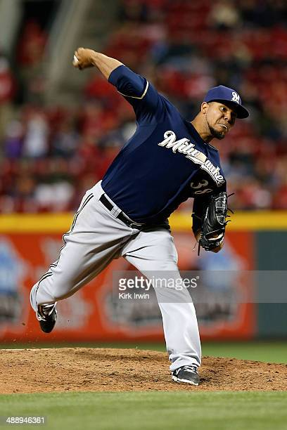 Wily Peralta of the Milwaukee Brewers pitches during the game against the Cincinnati Reds at Great American Ball Park on May 2 2014 in Cincinnati Ohio