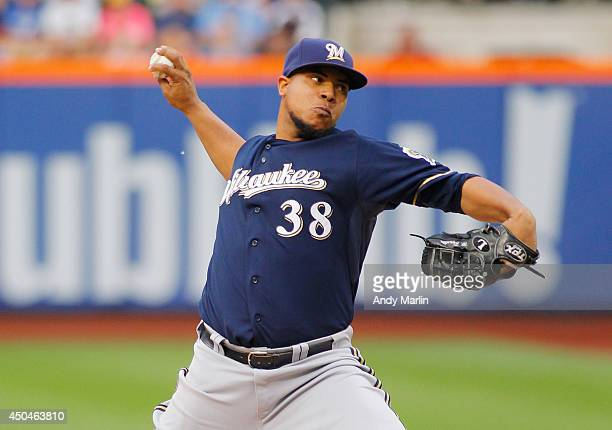 Wily Peralta of the Milwaukee Brewers pitches in the first inning against the New York Mets during the game at Citi Field on June 11 2014 in the...