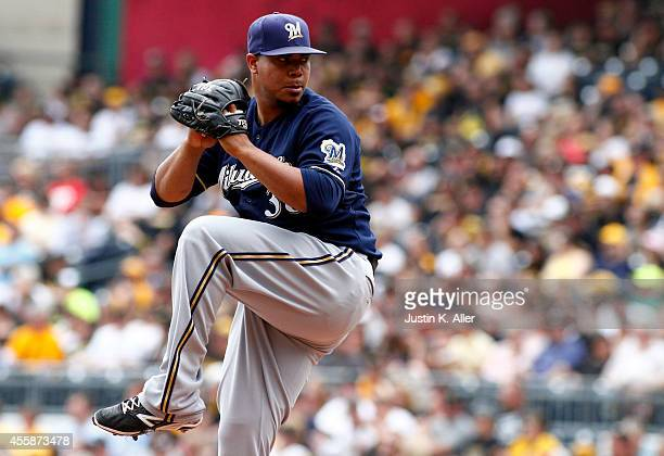 Wily Peralta of the Milwaukee Brewers pitches in the first inning against the Pittsburgh Pirates during the game at PNC Park on September 21 2014 in...