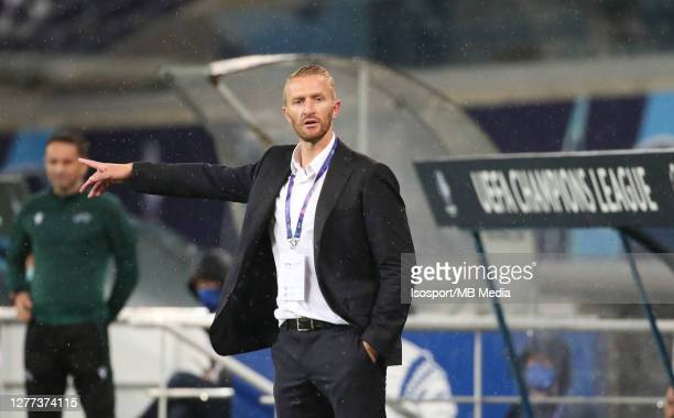Wim De Decker head coach of KAA Gent during the UEFA Champions League PlayOff first leg match between KAA Gent and Dynamo Kyiv at Ghelamco Arena on...