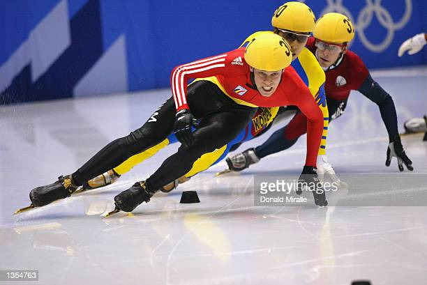 Wim de Deyne of Belgium competes in the men's 500m short track during the Salt Lake City Winter Olympic Games on February 23 2002 at the Salt Lake...
