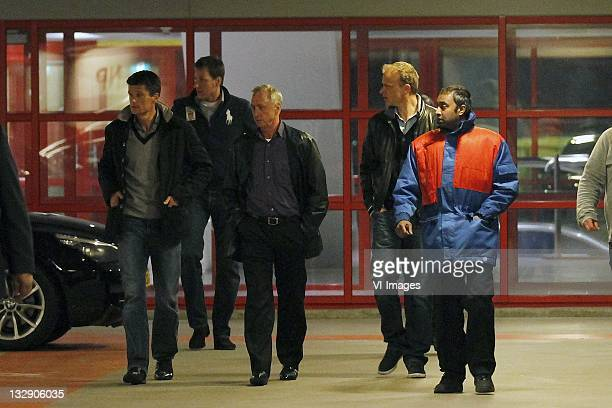 Wim Jonk,Johan Cruijff,Dennis Bergkamp on March 30, 2011 at the Amsterdam ArenA. The board of directors of Ajax resigned during a special meeting of...