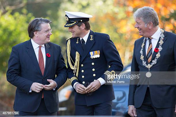 Wim van de Donk Prince Maurits of The Netherlands and Frank Petter attend a ceremony at the Canadian War Memorial on October 27 2014 in Bergen op...