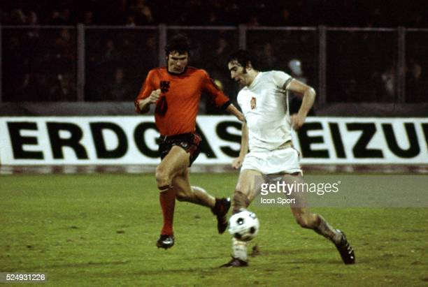Wim van Hanegem of Holland and Anton Ondrus of Czechoslovakia during the European Championship between Czechoslovakia and Holland in Stadium Maksimir...