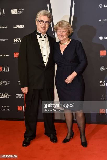 Wim Wenders and Monika Gruetters attend the European Film Awards 2017 on December 9, 2017 in Berlin, Germany.
