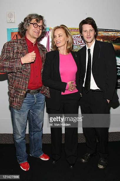 Wim Wenders Jessica Lange and Gabriel Mann during 'Don't Come Knocking' New York Inside arrivals at DGA Theater in New York NY United States