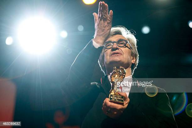 Wim Wenders recieves his Honorary Golden Bear during the 65th Berlinale International Film Festival at Berlinale Palace on February 12 2015 in Berlin...