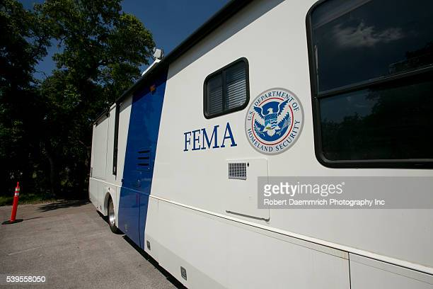 Wimberley, Texas USA June 6th, 2015: The Federal Emergency Management Agency set up a mobile intake center MRIC in Wimberley, Texas to serve local...