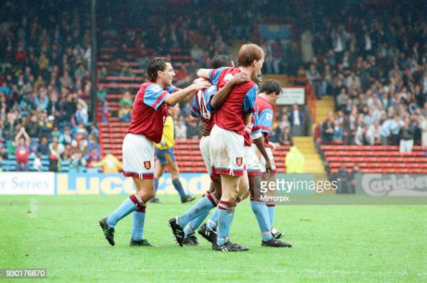 Wimbledon 23 Aston Villa league match at Plough Lane Saturday 3rd October 1992 Dalian Atkinson celebrates goal Dean Saunders Ray Houghton Steve...