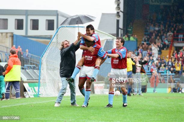 Wimbledon 23 Aston Villa league match at Plough Lane Saturday 3rd October 1992 Dalian Atkinson celebrates goal Dean Saunders Ray Houghton