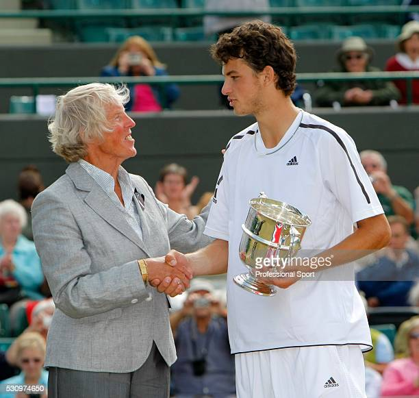Wimbledon Boys' Singles Final 2008 Grigor Dimitrov of Bulgaria receiving his trophy from Ann Jones after defeating Henri Kontinen of Finland
