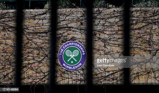 Wimbledon branding is seen at The All England Tennis and Croquet Club best known as the venue for the Wimbledon Tennis Championships on April 01 2020...