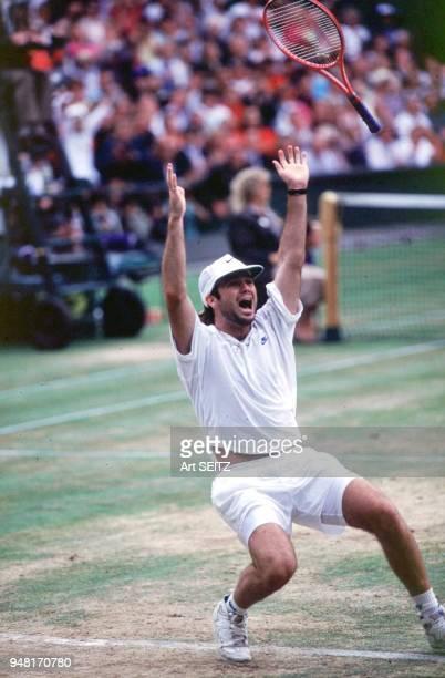 07/00/1992 Wimbledon Center Court Andre Agassi after winning the 1992 Wimbledon Men's Singles Championship