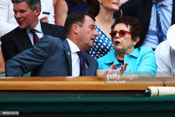 Wimbledon Chairman Philip Brook and Billie Jean King attend day six of the Wimbledon Lawn Tennis Championships at All England Lawn Tennis and Croquet...