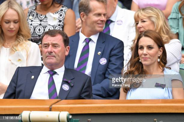 Wimbledon Chairman Philip Brook and Catherine, Duchess of Cambridge on Centre Court during Men's Finals Day of the Wimbledon Tennis Championships at...