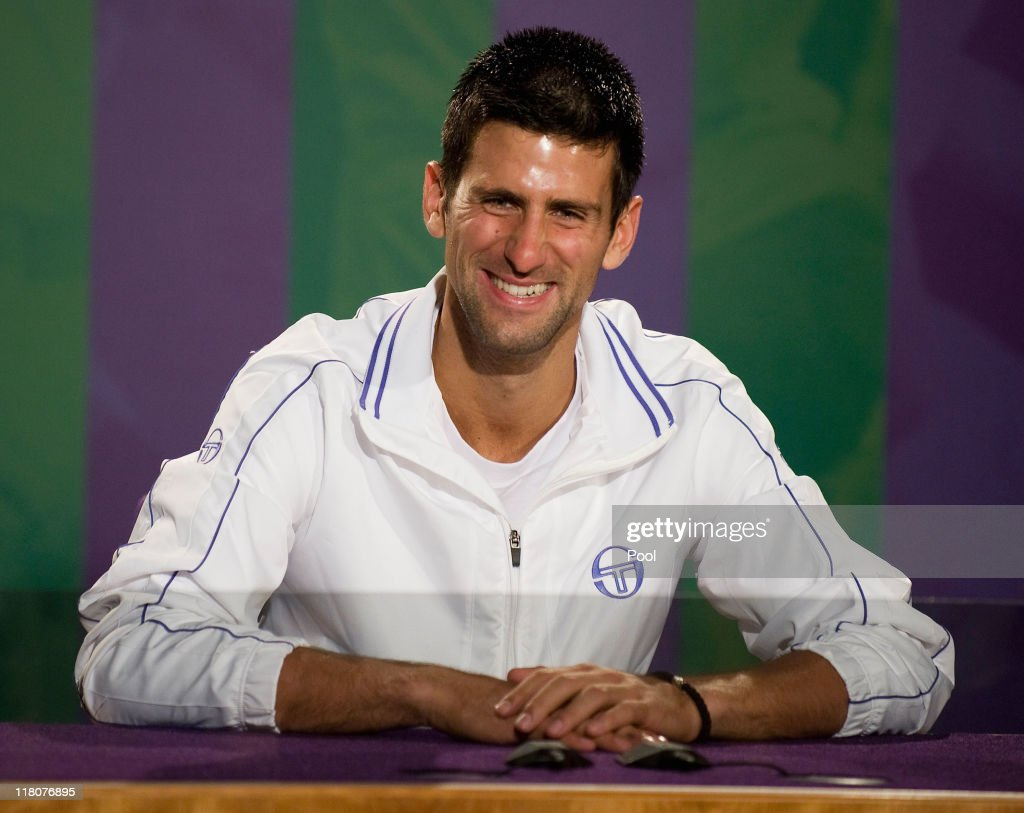 Wimbledon Champion Novak Djokovic of Serbia speaks at a press conference after winning his final round Gentlemans' match against Rafael Nadal of Spain on Day Thirteen of the Wimbledon Lawn Tennis Championships at the All England Lawn Tennis and Croquet Club on July 3, 2011 in London, England.