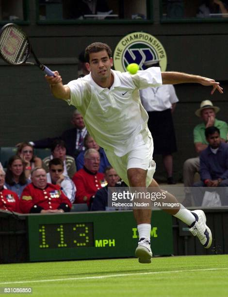 Wimbledon champion Pete Sampras of the US in action against Jiri Vanek of the Czech Republic during the first day of the Lawn Tennis Championships at...