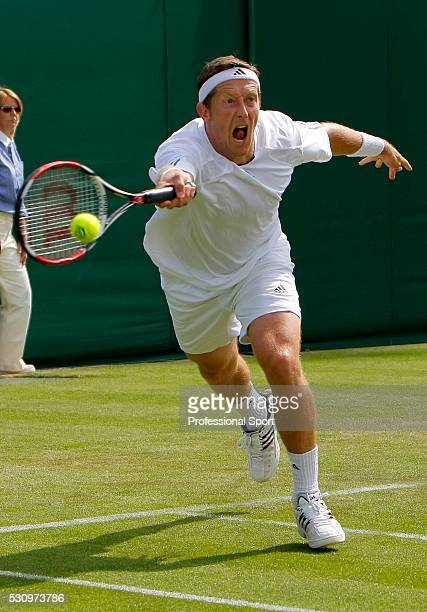 Wimbledon Championships 2008. Jonas Bjorkman of Sweden in action against Arnaud Clement of France.