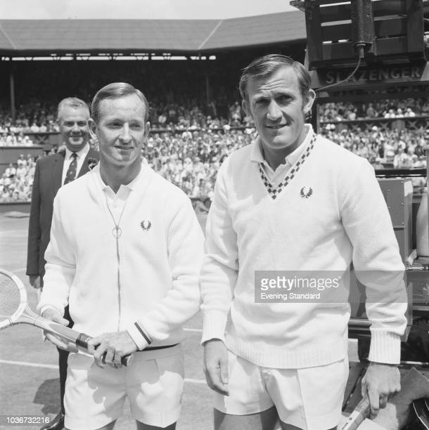 Wimbledon Championships finalists in the Men's Single tennis players Rod Laver and Tony Roche All England Lawn Tennis and Croquet Club London UK 5th...