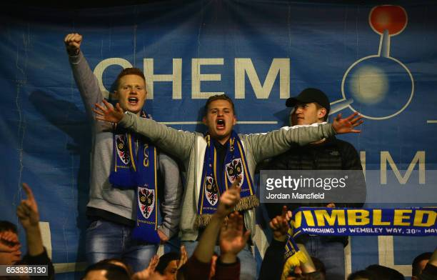 Wimbledon fans before the Sky Bet League One match between AFC Wimbledon and Milton Keynes Dons at The Cherry Red Records Stadium on March 14 2017 in...