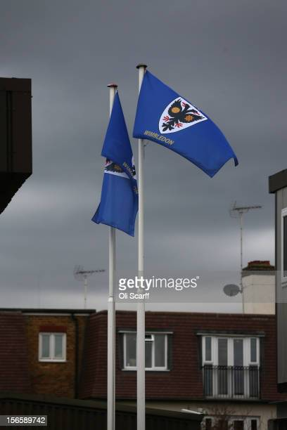 Wimbledon flags fly above their stadium before the npower League Two match between AFC Wimbledon and Aldershot Town at the Cherry Red Records Stadium...
