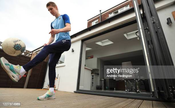 Wimbledon Footballer Jack Rudoni trains at home during the Coronavirus Pandemic on May 27 2020 in Cheam England